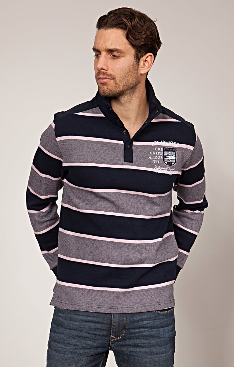 Polo col montant pink