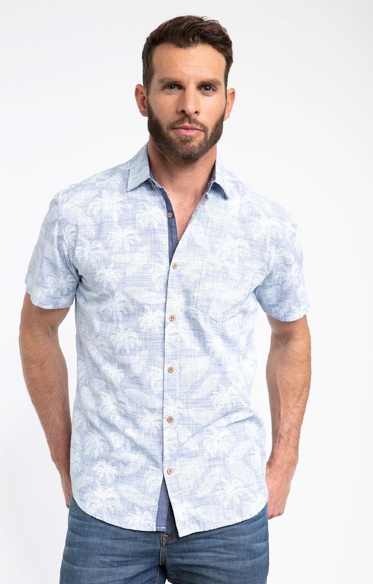 Chemise motif tropical fil à fil