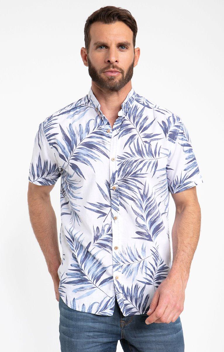Chemise motif Big Palm bleu