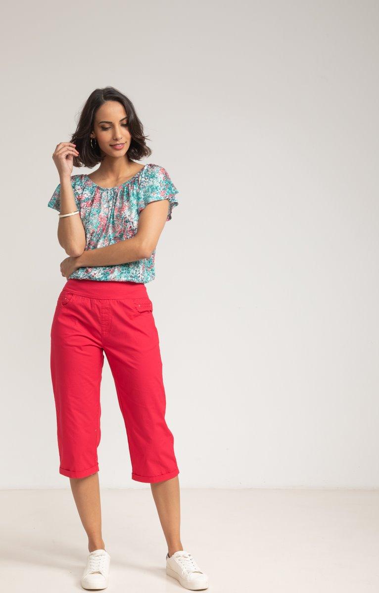 Pantalon Long en Popeline Stretch