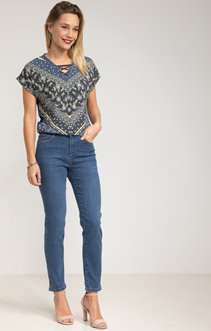 Pantalon denim détails strass