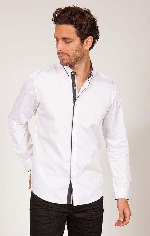 chemise coton manche longue uni