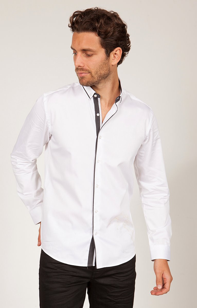 chemise coton manches longues uni