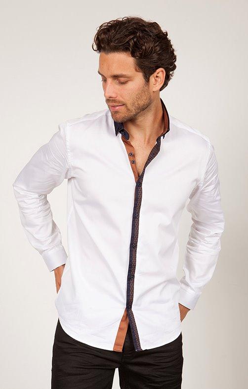 chemise satin manche longue unie