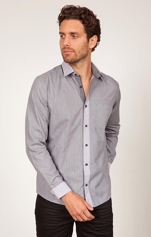 chemise coton manches longues unie