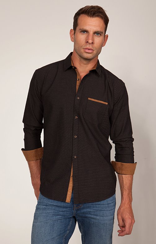 Chemise Casual Faux-Uni Anthracite