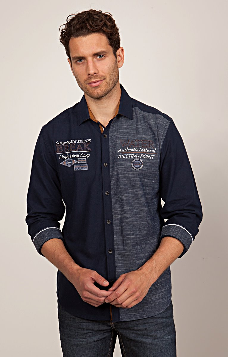 Chemise Casual Bicolore à Broderies