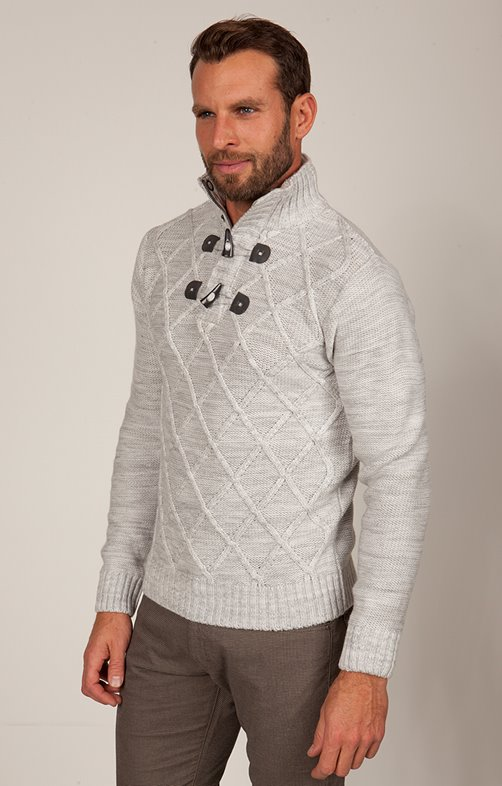 PULL COL MONTANT ZIPPE + BRANDEBOURG