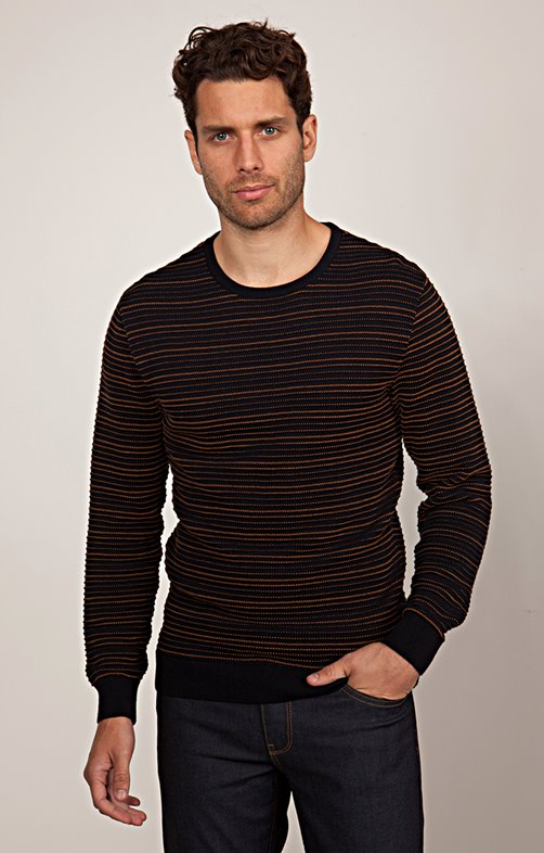 Pull col rond fines rayures