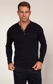 PULL COL TUNISIEN AVEC COL TEE-SHIRT