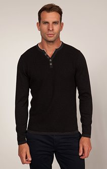 PULL COL TUNISIEN FINE RAYURES DOS