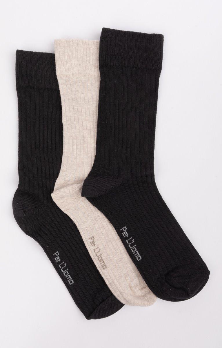 3 paires de chaussettes côtelées