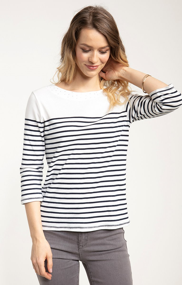 tee shirt manches 3/4 col rond rayure