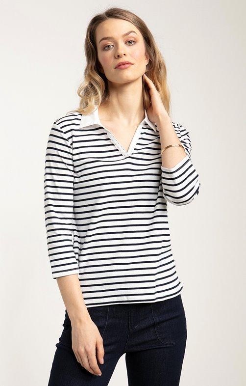 tee shirt col polo rayure avec strass