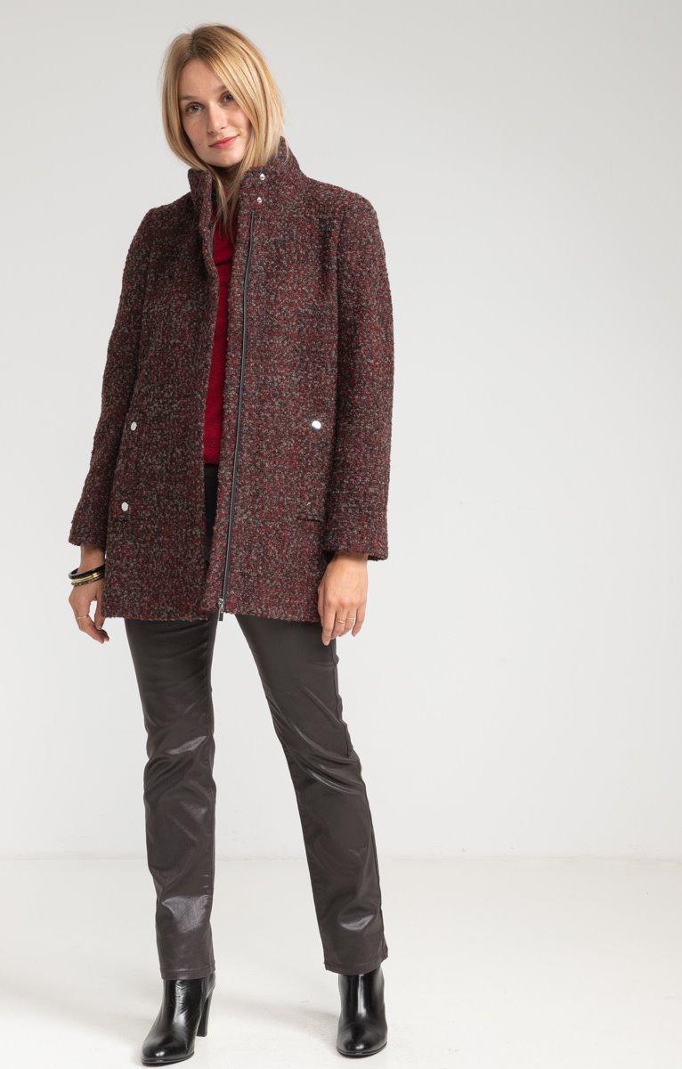 Manteau mi-long col montant