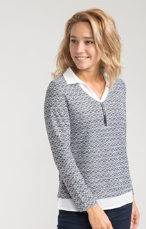 Pull col V imprimé en all-over