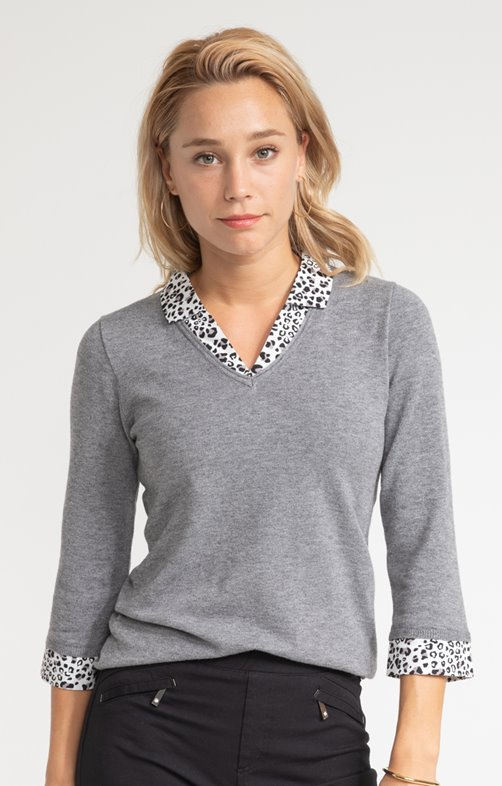 Pull col chemise léopard