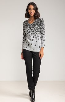 Pull col rond imprimé léopard