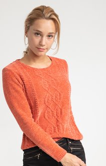 PULL COL ROND A MAILLE CHENILLE