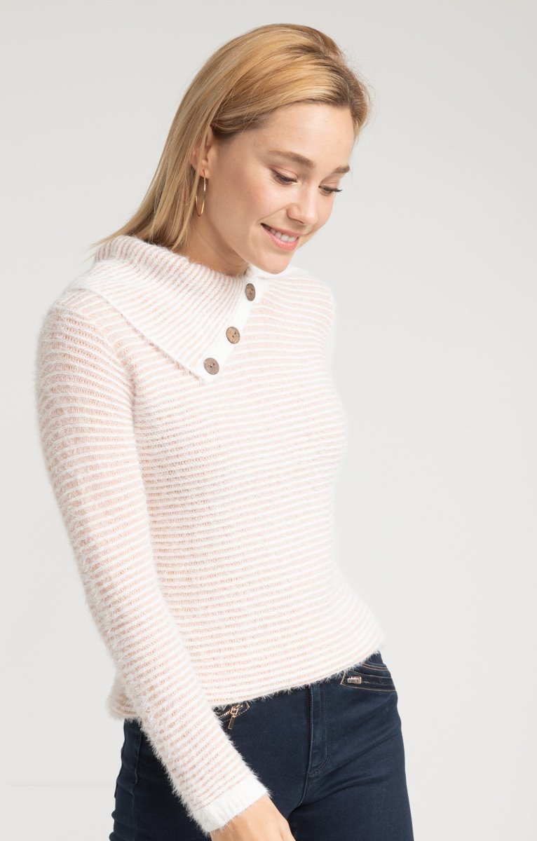 Pull rayé avec boutons coco