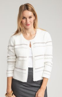CARDIGAN COL ROND A RAYURES