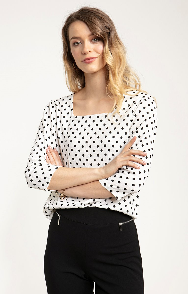 tee shirt manches 3/4 col carre