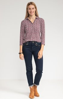 Tee-shirt manches 3/4 col chemise