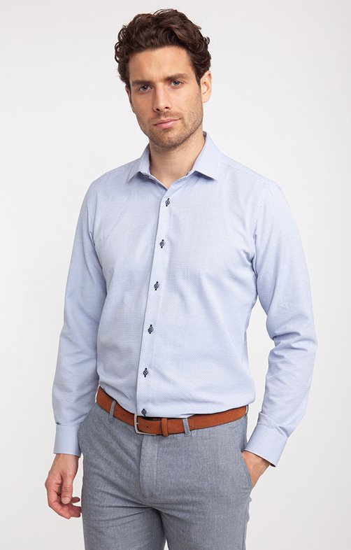 chemise jacquard manches longues