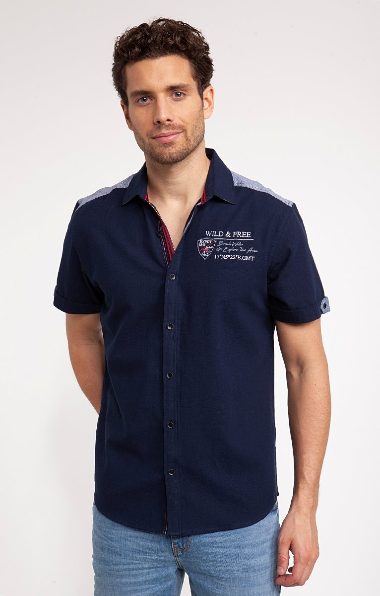 Chemise piqué de coton avec broderies