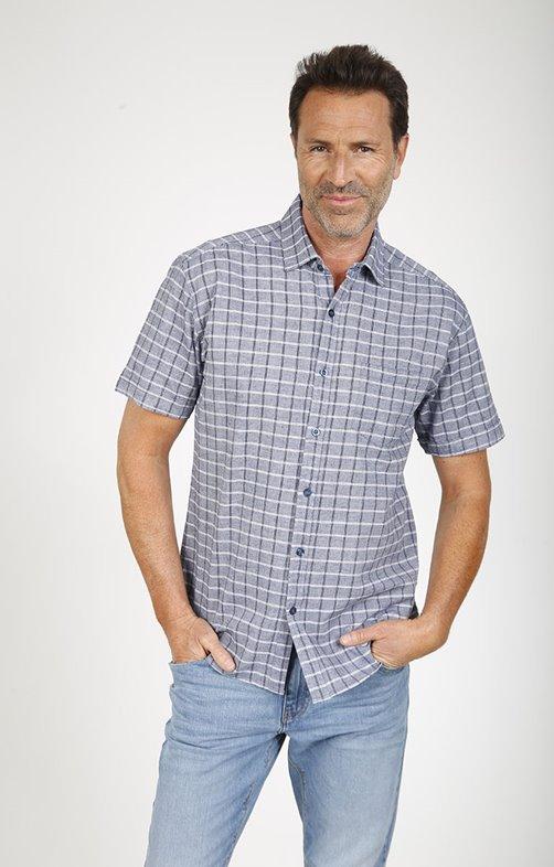 Chemise à carreaux melange lin