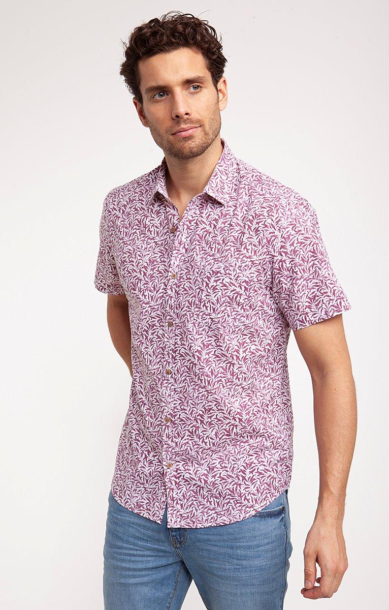 Chemise style lin motif feuillette