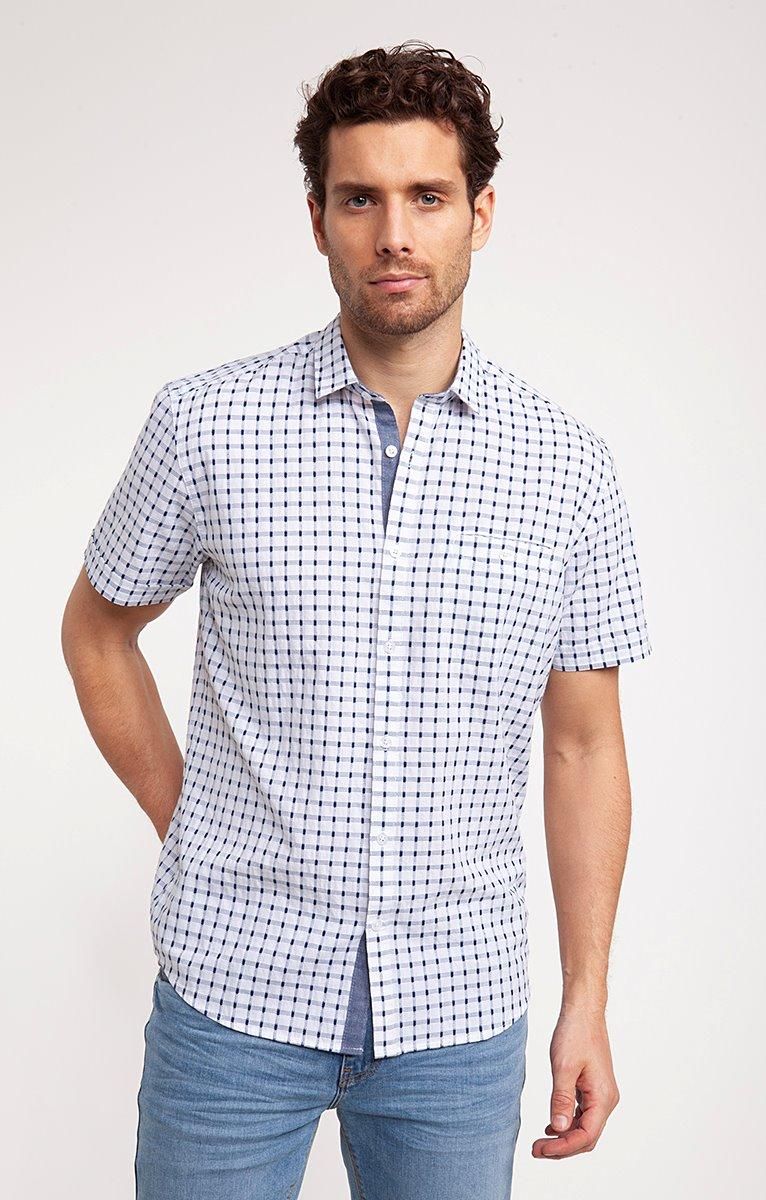 Chemise à carreaux dobby