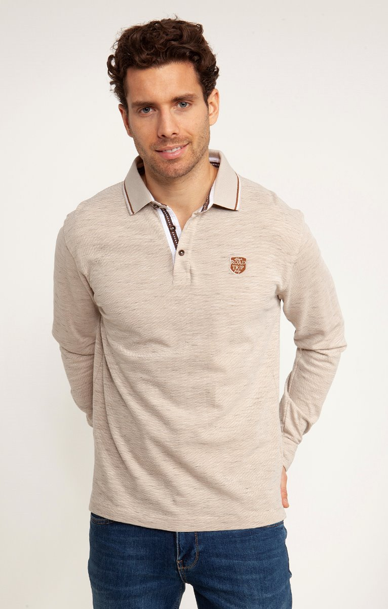 Polo manches longues camel