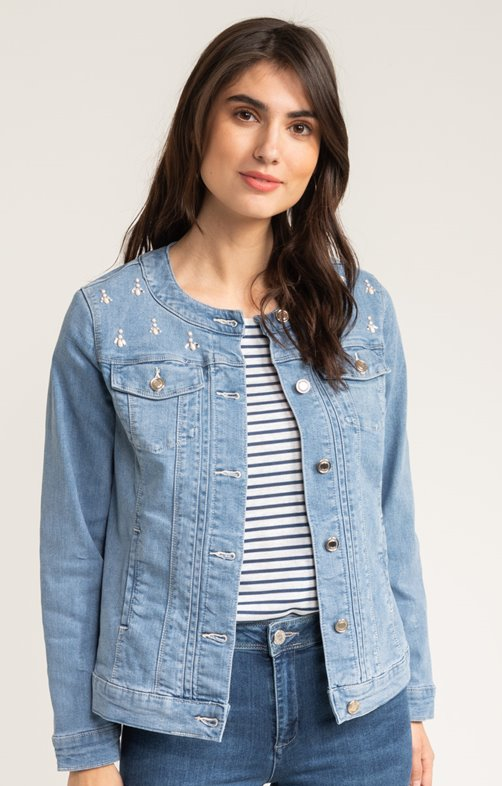 BLOUSON DENIM BLEACH SANS COL