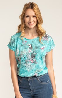 TEE SHIRT COL ROND IMPRIME TOUCAN