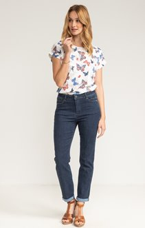 PANTALON 7/8 DENIM AVEC DETAIL STRASS