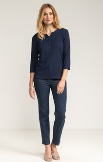 PANTALON DENIM 7/8 AVEC GALON ET STRASS