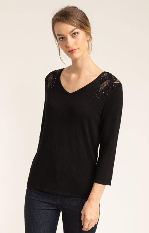 PULL COL V MANCHES 3/4 BRODERIE EPAULE