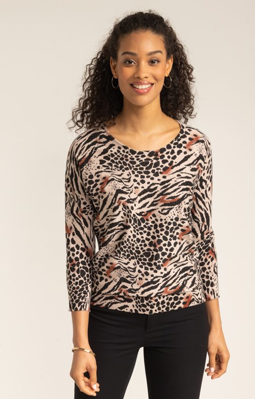 PULL IMPRIME ANIMAL ALL OVER ET STRASS