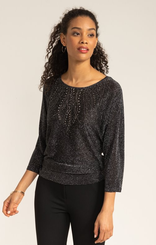PULL MANCHES CHAUVE SOURIS STRASS