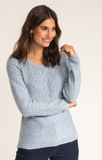 PULL MANCHES LONGUES COL ROND POINTELLE