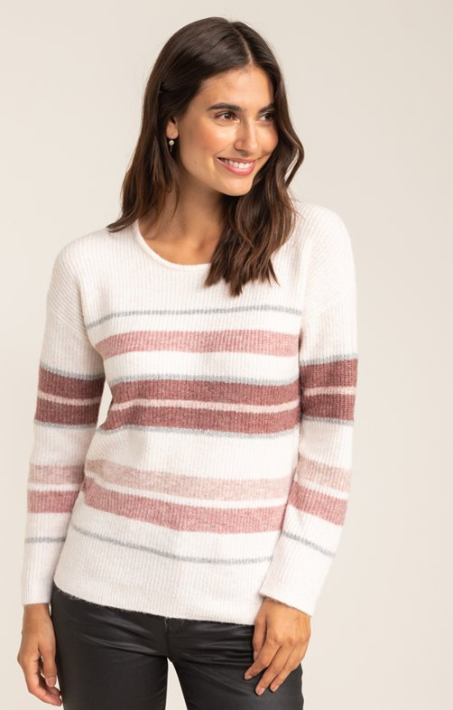 PULL MANCHES LONGUES COL ROND RAYURES