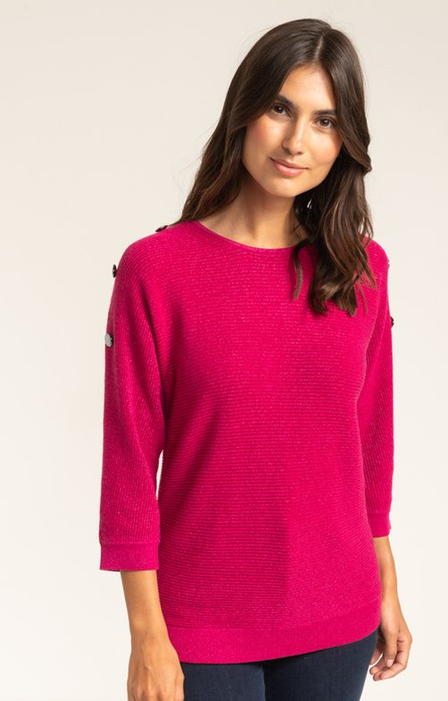 PULL MANCHES 3/4 COL ROND COTES ANGLAISE