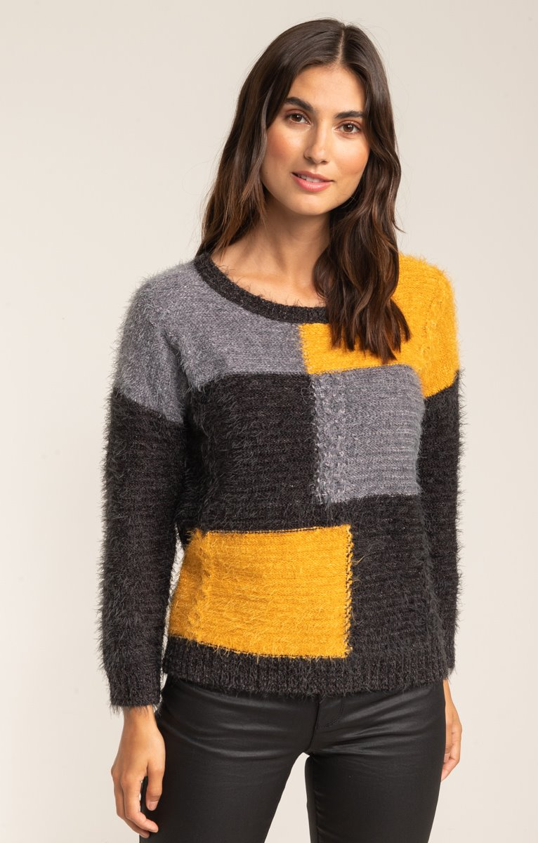 PULL COL ROND FILS POILU COLORBLOCK