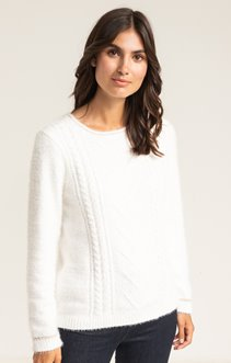 PULL COL ROND FILS CHENILLE ET POILU