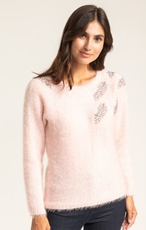 PULL COL ROND BRODERIES SEQUINS PLACEES