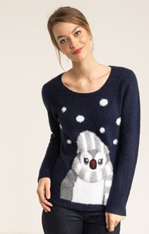 PULL COL ROND MOTIF PINGOUIN DEVANT