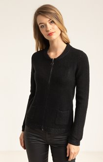 CARDIGAN ZIPPE COL TEDDY