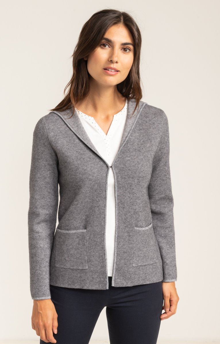 CARDIGAN DOUBLE FACE A CAPUCHE