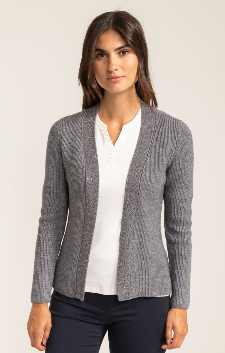 CARDIGAN MAILLE ANGLAISE ET STRASS